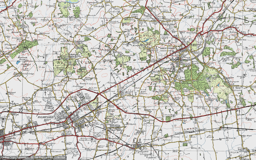 Old Map of Historic Map covering Tylers Common in 1920