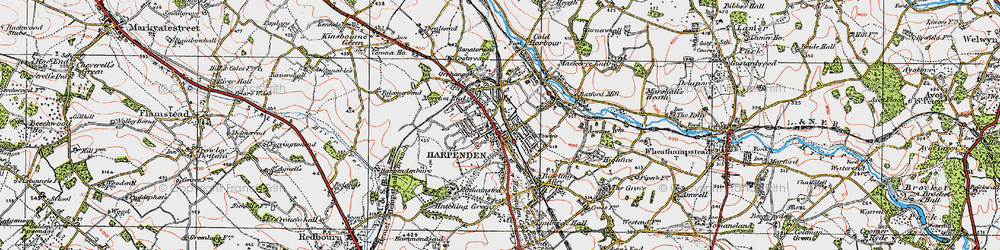 Old map of Harpenden in 1920