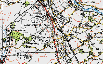 Old map of Harpenden Common in 1920