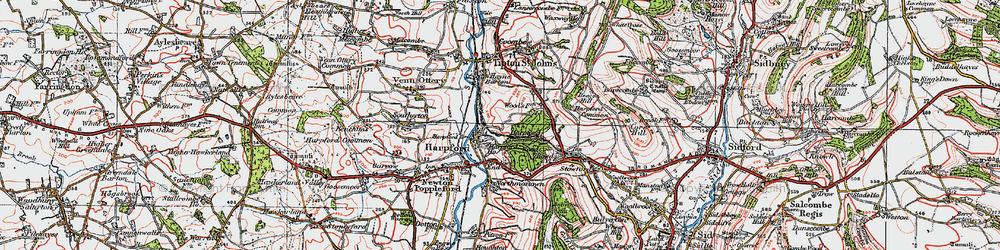 Old map of Harpford in 1919