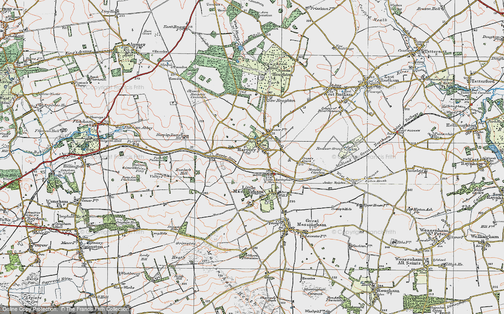 Old Map of Harpley, 1921 in 1921