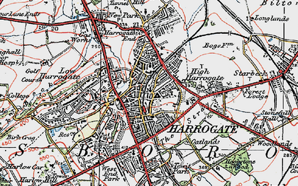 Old map of Harrogate in 1925