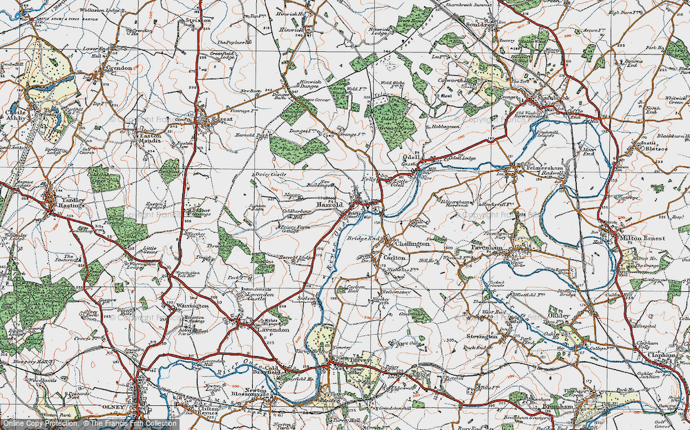 Old Map of Historic Map covering Lavendon Wood in 1919
