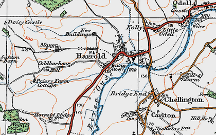 Old map of Harrold in 1919