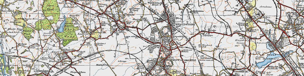 Old map of Harrow in 1920