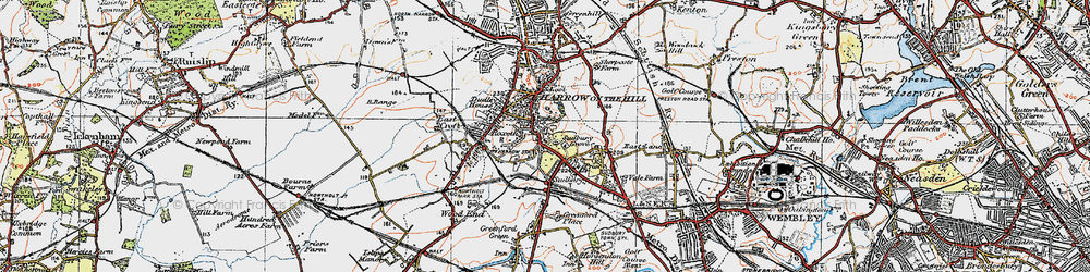 Old map of Harrow on the Hill in 1920