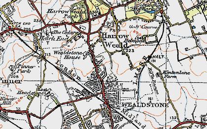 Old map of Harrow Weald in 1920