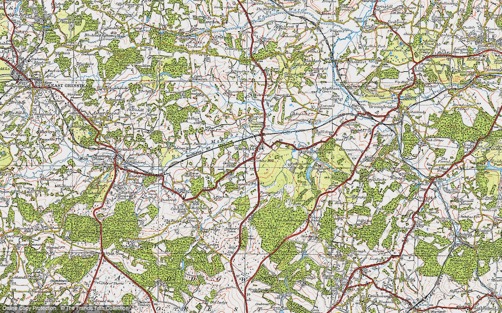 Old Map of Hartfield, 1920 in 1920