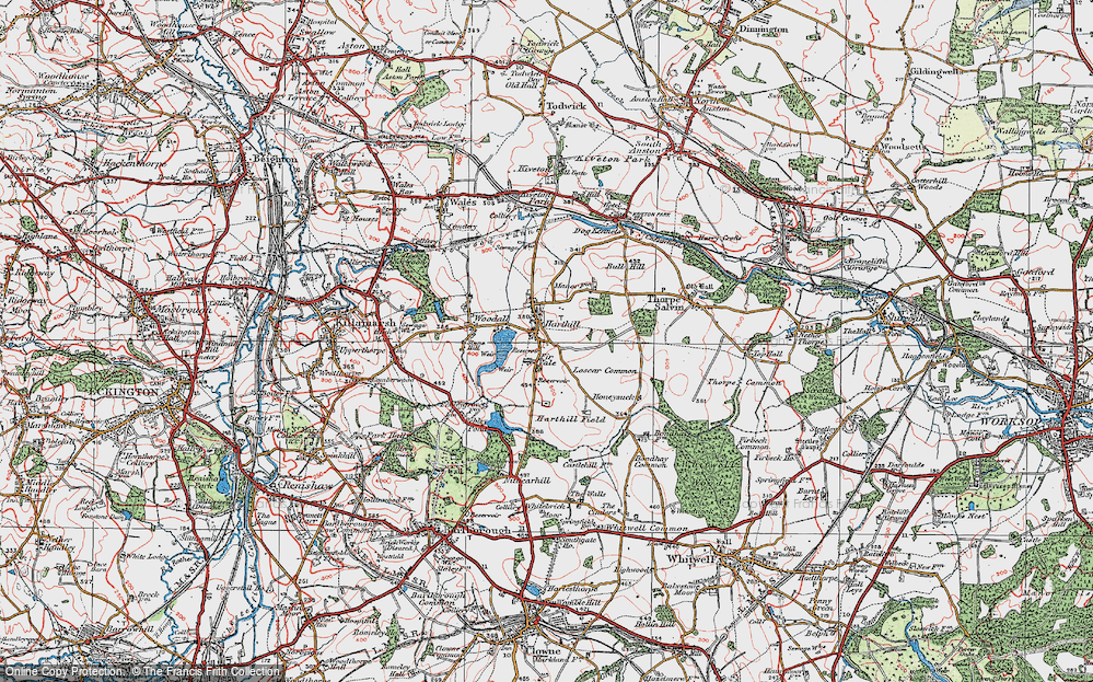 Old Map of Historic Map covering Woodall in 1923