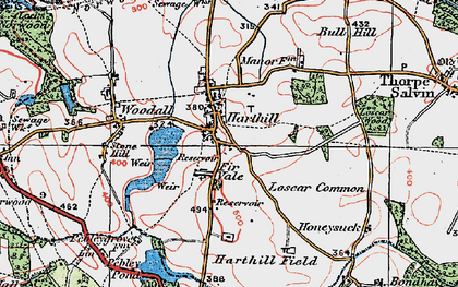 Old map of Woodall in 1923