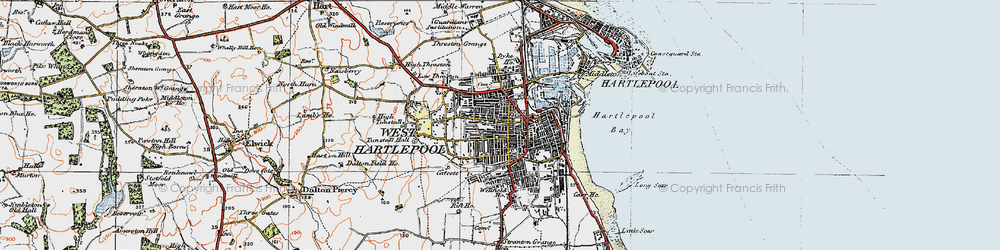 Old map of Hartlepool in 1925