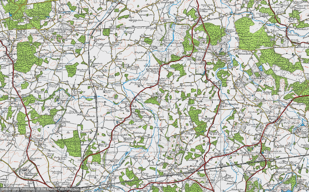 Old Map of Hartley Wespall, 1919 in 1919
