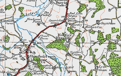 Old map of Hartley Wespall in 1919
