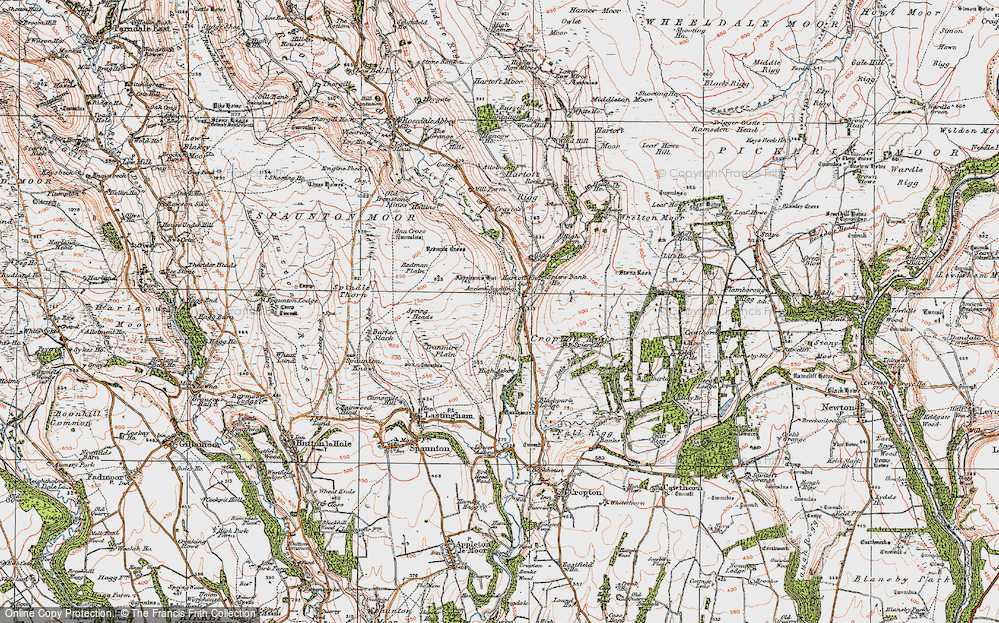 Old Map of Historic Map covering Abraham's Hut (Cairn) in 1925