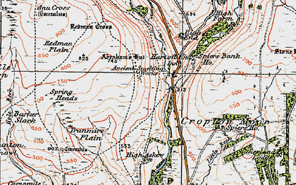 Old map of Abraham's Hut (Cairn) in 1925