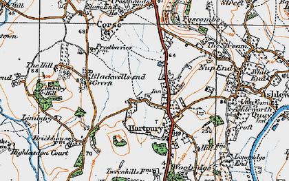 Old map of Hartpury in 1919