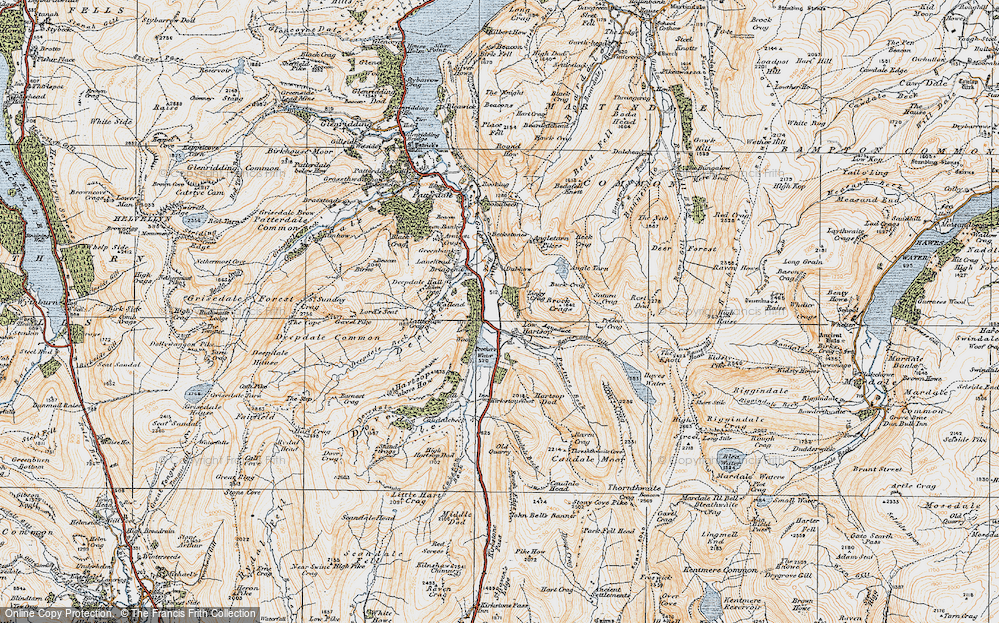 Old Map of Historic Map covering Lingy Crag in 1925