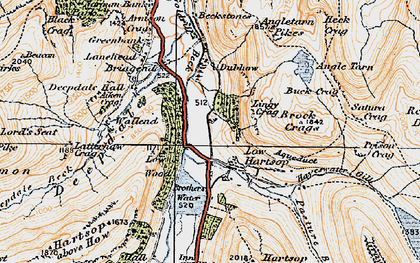 Old map of Lingy Crag in 1925