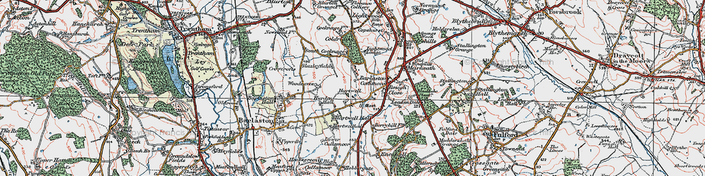 Old map of Woodeaves in 1921