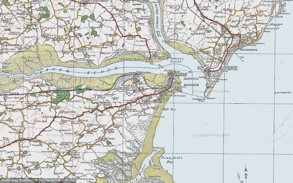 Old Map of Harwich, 1921 in 1921