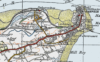Old map of Harwich in 1921