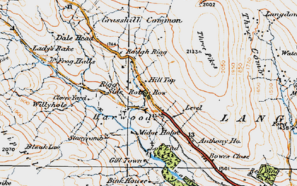 Old map of Langdon Common in 1925