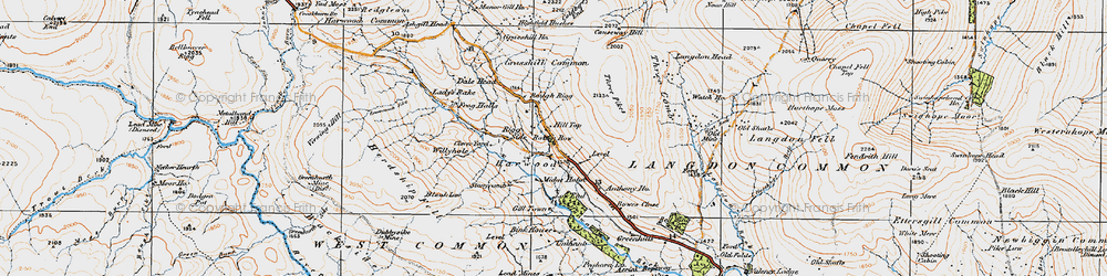 Old map of Widdybank Fell in 1925