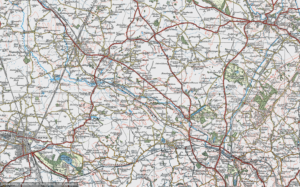 Old Map of Hassall Green, 1923 in 1923