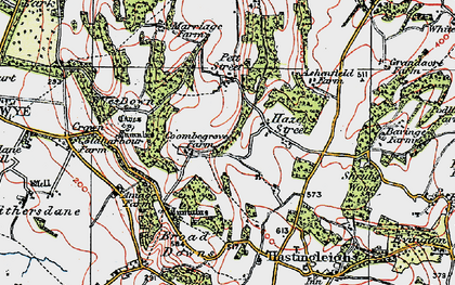Old map of Wye Downs in 1921