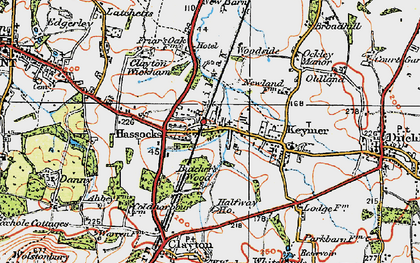 Old map of Hassocks in 1920