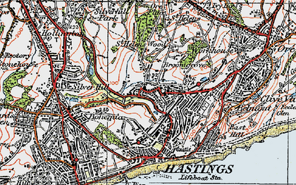 Old map of Hastings in 1921