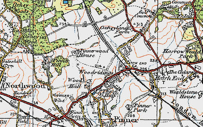 Old map of Hatch End in 1920