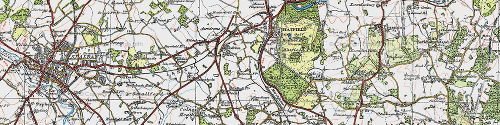Old map of Hatfield in 1920