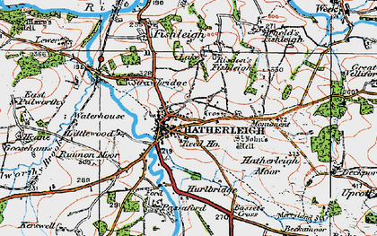 Old map of Hatherleigh in 1919