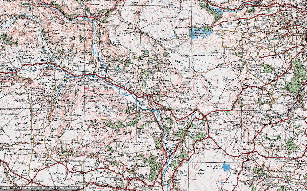 Old Map of Historic Map covering White Path Moss in 1923
