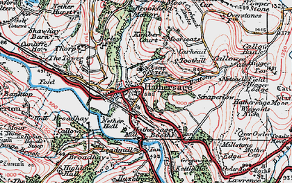 Old map of Hathersage in 1923