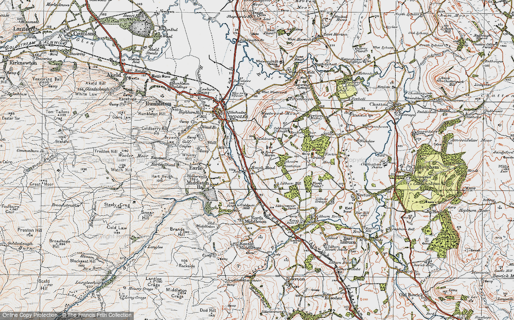 Old Map of Historic Map covering Lilburn Hill in 1926