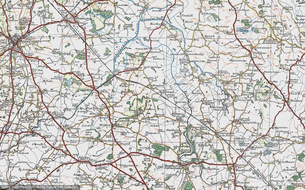 Old Map of Haughton, 1921 in 1921