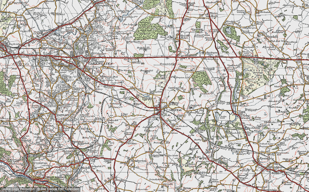 Old Map of Historic Map covering Aston Coppice in 1921