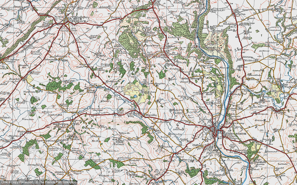 Old Map of Historic Map covering Aldenham Park in 1921