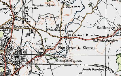 Old map of Haughton Le Skerne in 1925