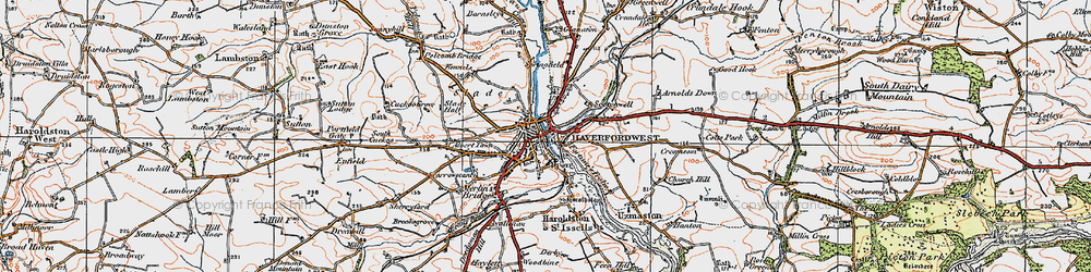 Old map of Haverfordwest in 1922