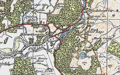 Old map of Haverthwaite in 1925