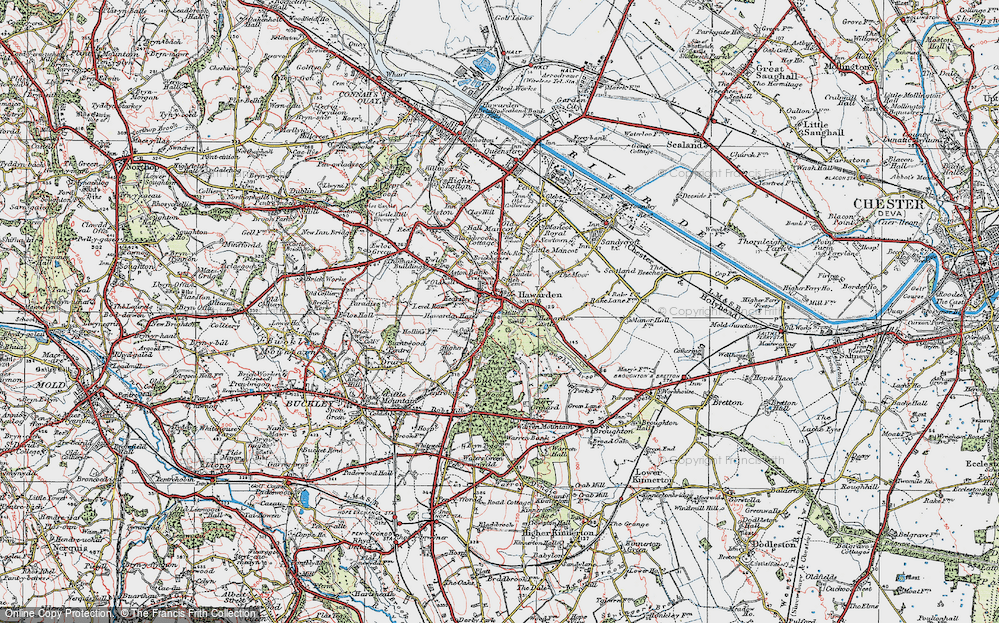 Old Map of Historic Map covering Aviary, The in 1924