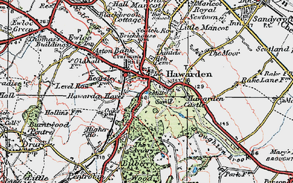 Old map of Hawarden in 1924