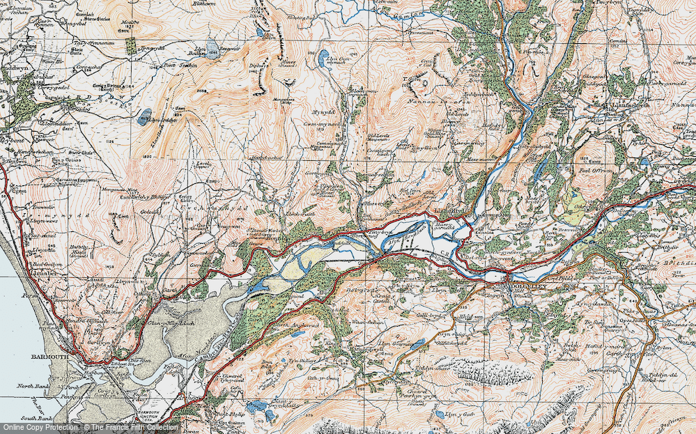 Old Map of Historic Map covering Afon Cwm-mynach in 1922