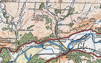 Old map of Afon Cwm-llechen in 1922