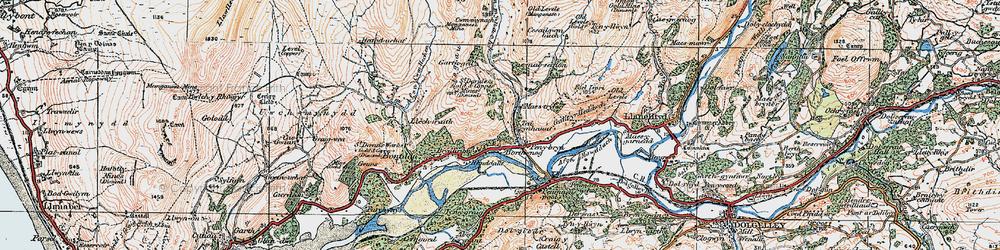 Old map of Afon Cwm-llechen in 1922