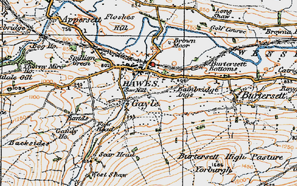 Old map of Hawes in 1925