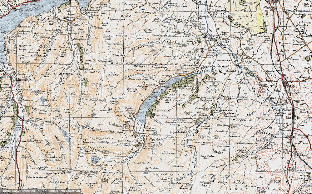 Old Map of Historic Map covering Bampton Common in 1925